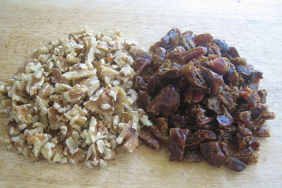 Chopped walnuts (above left) and chopped pitted dates (above right).