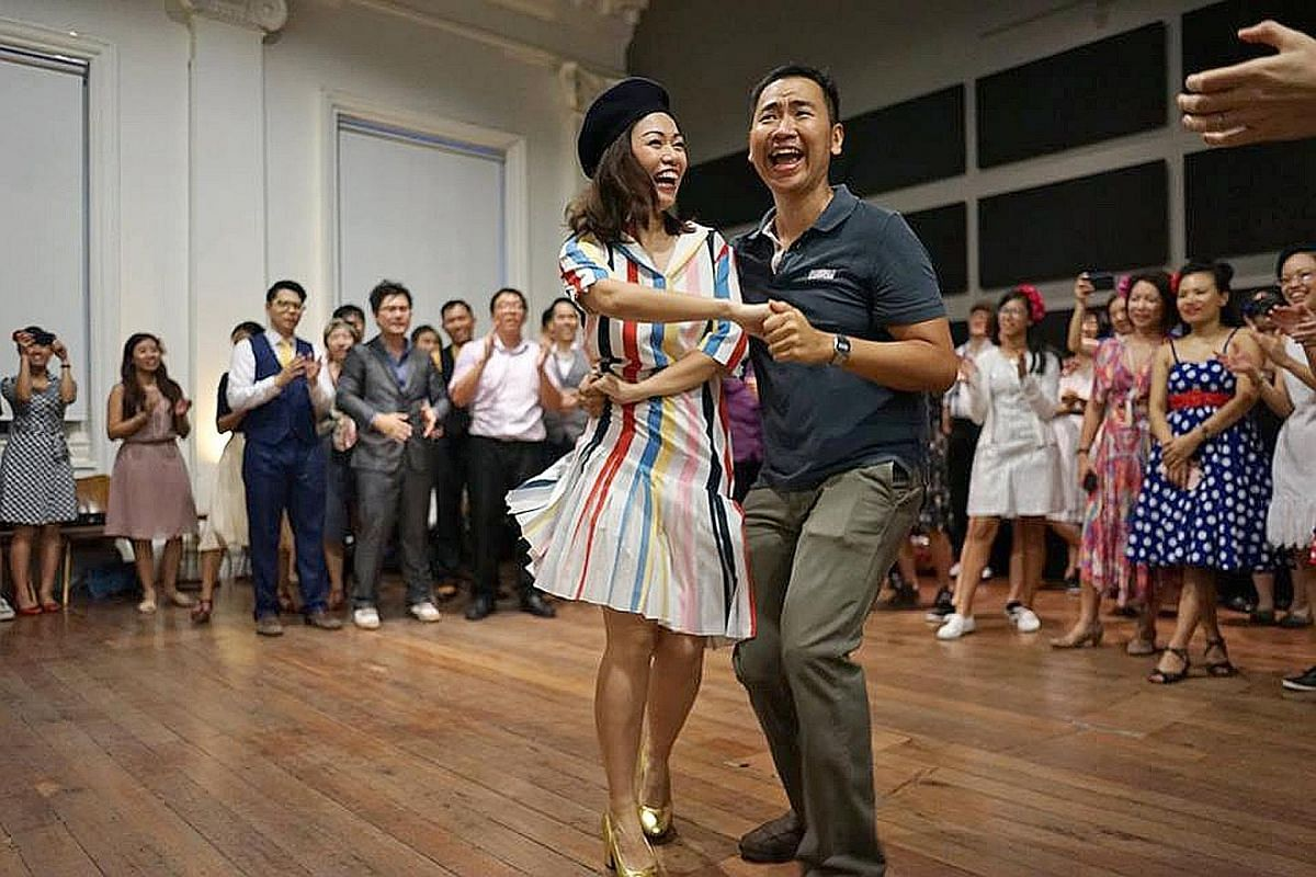 Sing! China finalist Joanna Dong dancing with fellow lindy-hop enthusiast Ronald Lim during a reunion at Lindy Live at Timbre last week. The event was filmed by the Sing! China production crew.
