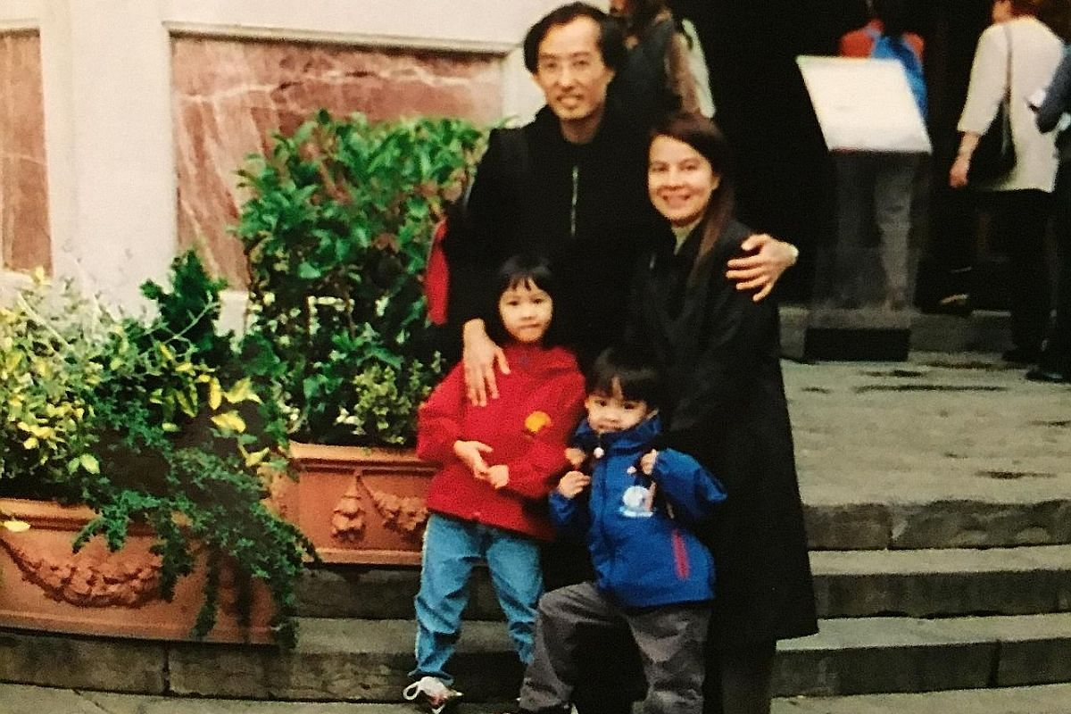 Families For Life Council chairman Ching Wei Hong, his wife Irene Oen, daughter Marianne and son Christian on a family vacation in Milan in 2000 (above) and in Berlin in 2015 (left).