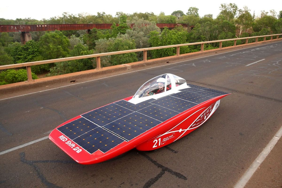 This handout photo received on Oct 8, 2017 shows the solar-powered car Red Shift from the Netherlands during the 3000km World Solar Challenge across outback Australia. PHOTO: AFP