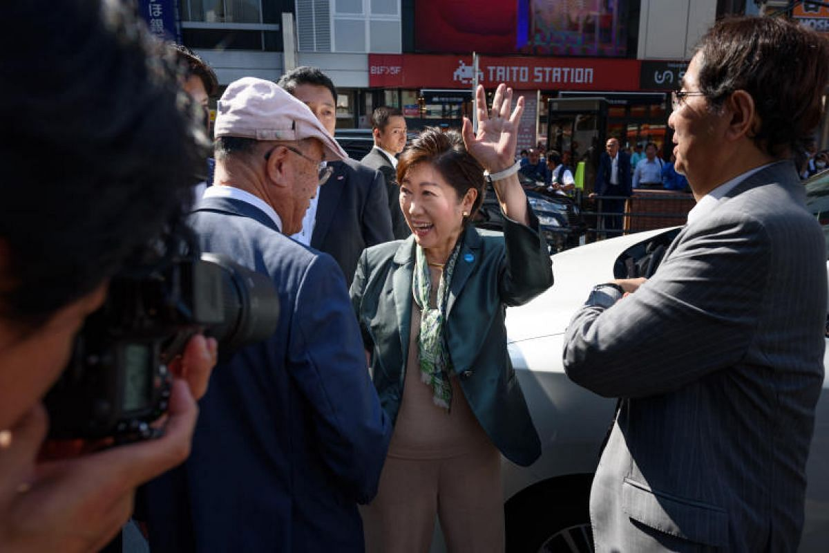 Ms Koike leaving a campaign rally in Tokyo on Oct 10, 2017.