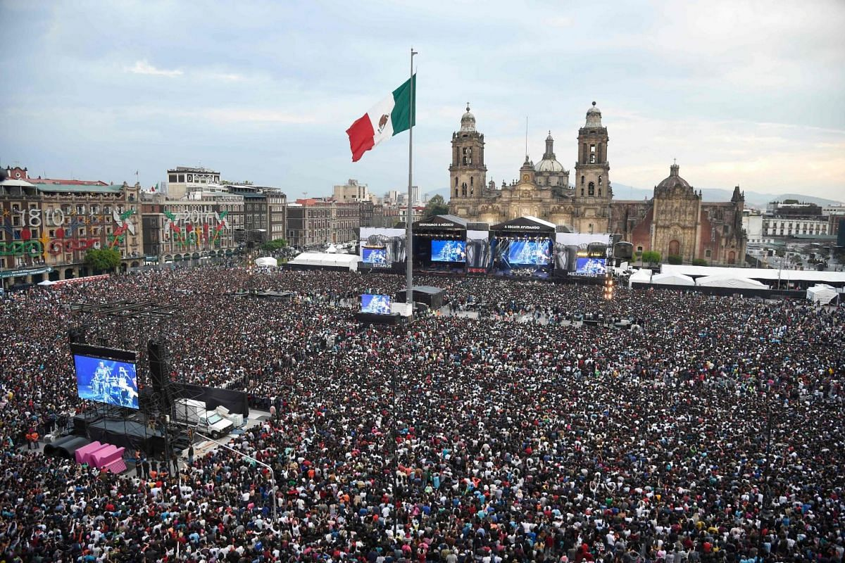 A concert by Latin music stars to aid victims of Mexico's September 19 earthquake, at the Zocalo Square in Mexico City on October 8, 2017. PHOTO: AFP