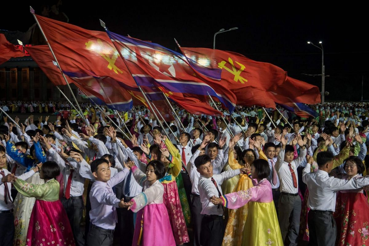 Performance at a mass gala event marking the 20th anniversary of late North Korean leader Kim Jong Il's election as general secretary of the Workers' Party of Korea in Pyongyang, North Korea, Oct 8, 2017.  PHOTO: AFP