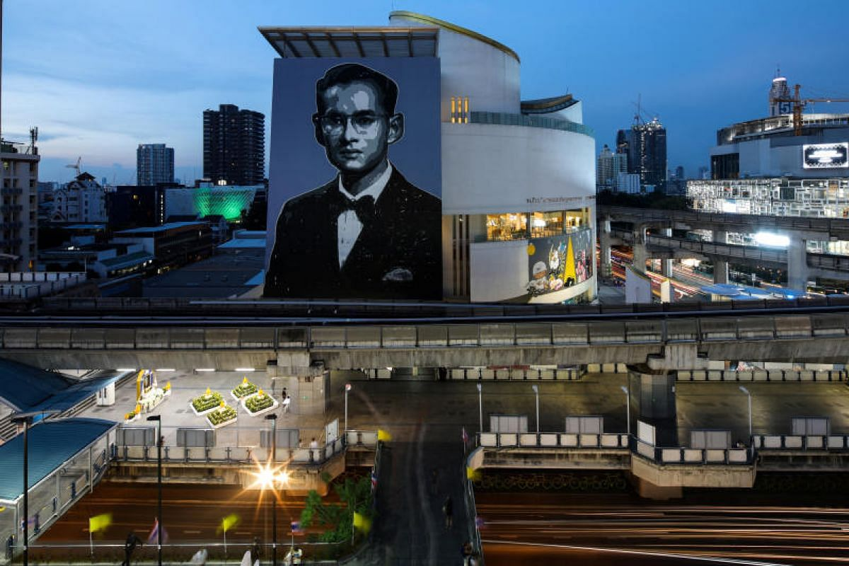 A portrait of the late King is seen on the building of the Bangkok Art and Culture Centre.