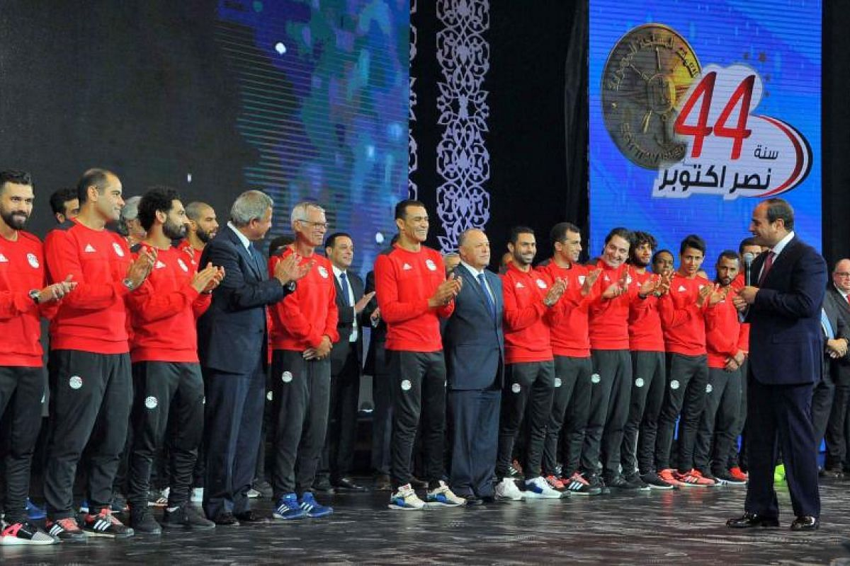 Egyptian President Abdel Fattah al-Sisi honouring his country's footballers after their 2-1 win over Congo secured a World Cup spot. Egypt last qualified for the football's biggest tournament in 1990.