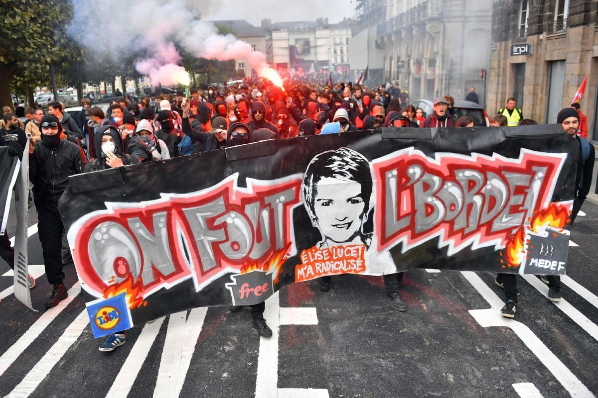 French civil servants protest against the government's plans to cut public jobs and freeze pay in Nantes, France, Oct 10, 2017. PHOTO: AFP