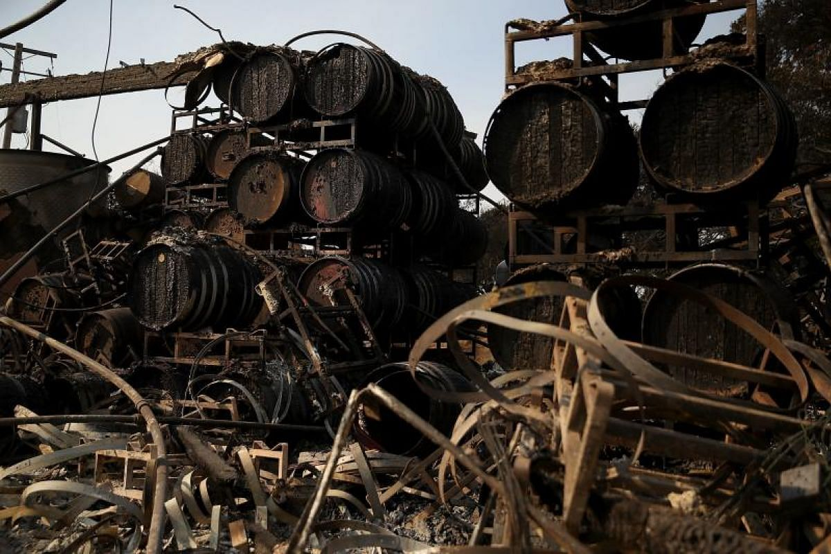 Charred wine barrels sitting on racks at Paradise Ridge Winery on Oct 11 after being destroyed by the fire in Santa Rosa, California. Nearly two dozen blazes spanning eight counties have charred over 68,000 hectares.
