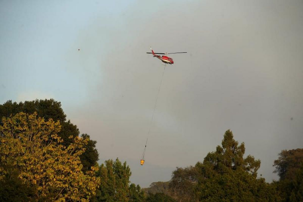 A helicopter taking water to fight the Atlas Fire in Napa, California on Oct 10.