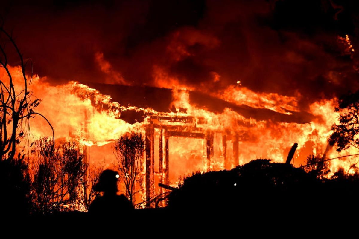 Firefighters assessing the scene as a house burns in the Napa wine region on Oct 9.