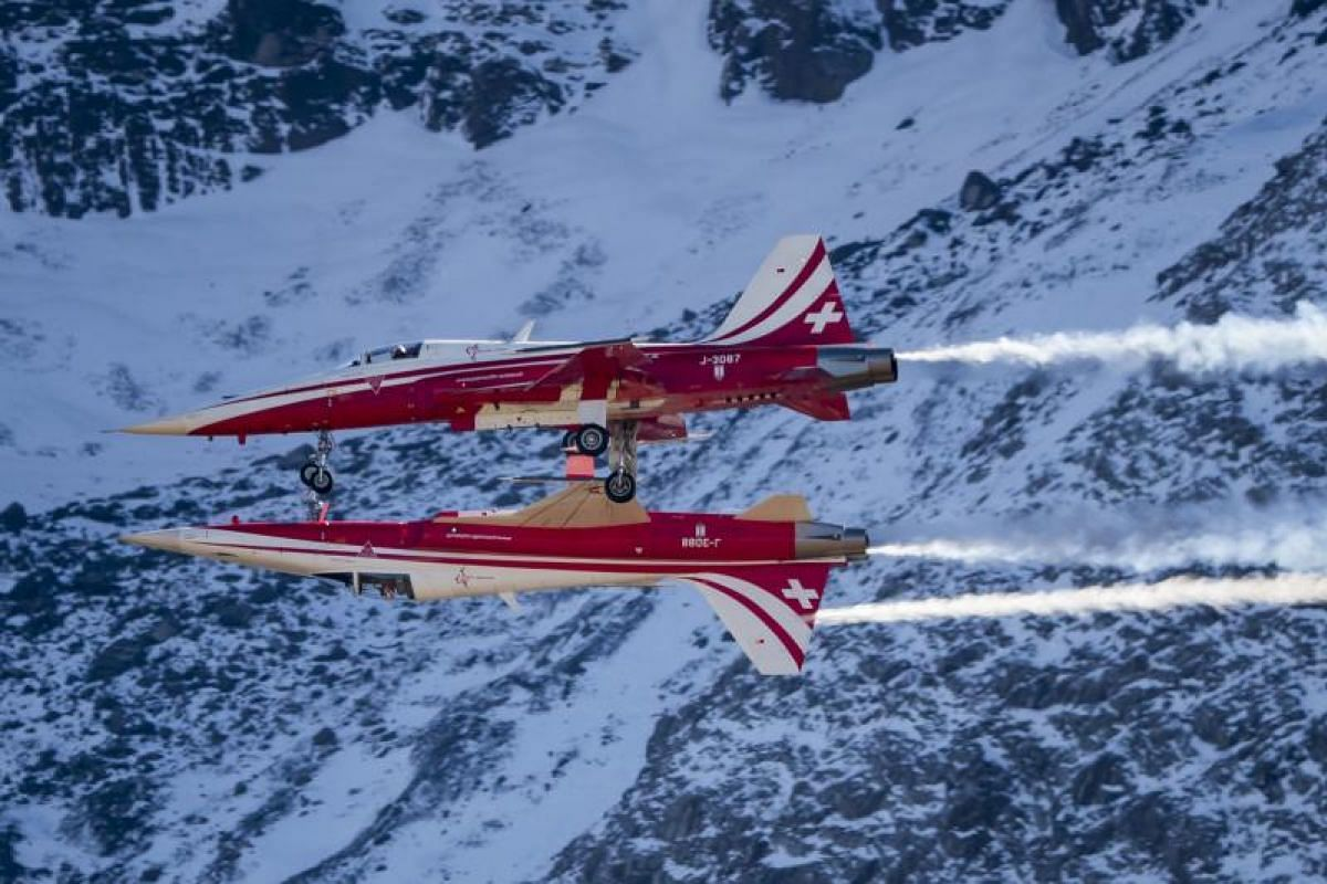 The aerobatic team of the Swiss Air Force performing on Oct 12, 2017.