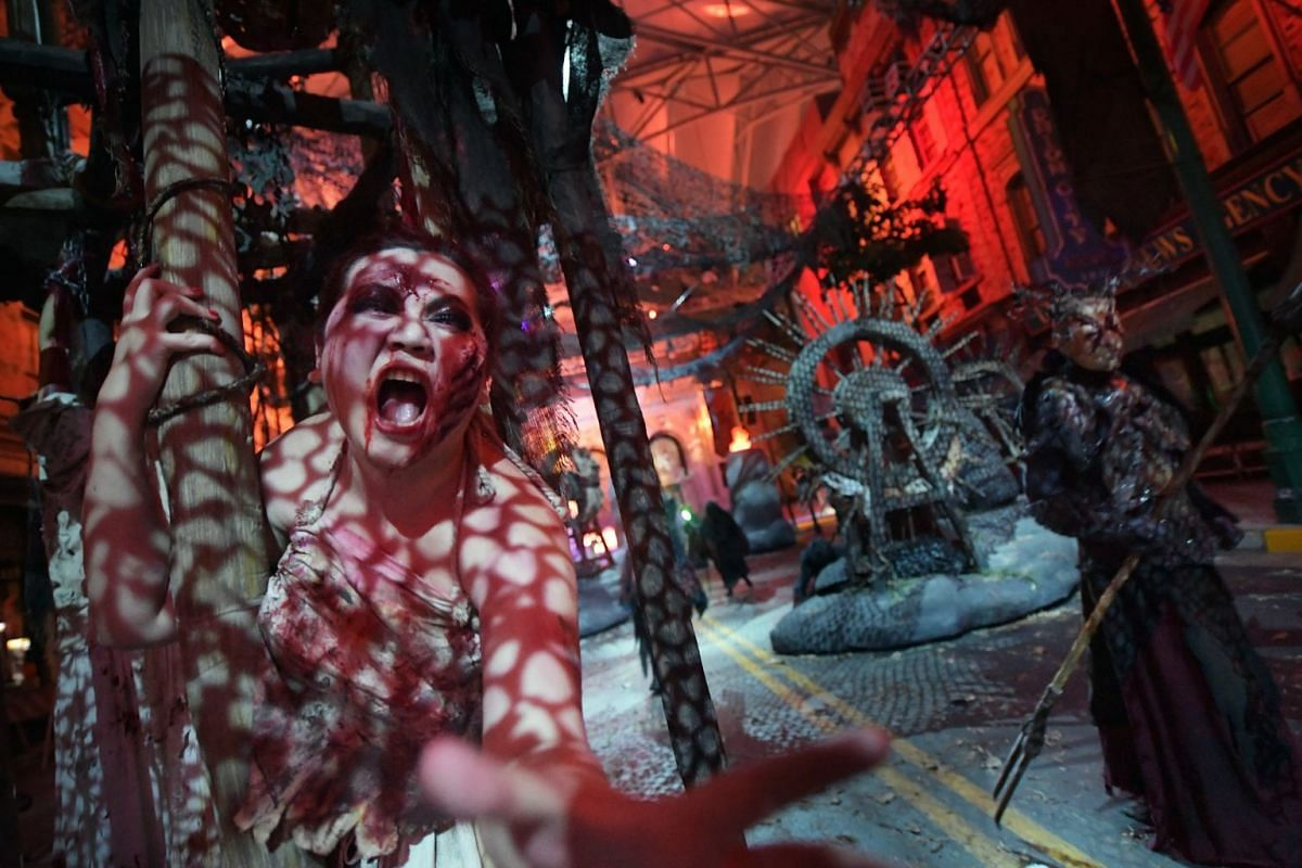 Almost 500 scare actors will take on roles such as zombies, ancient Chinese empresses and witch doctors at Halloween Horror Nights at Universal Studios Singapore.