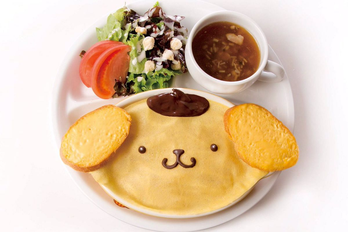 One of the many adorable dishes available at the PomPomPurin Cafe in Harajuku.