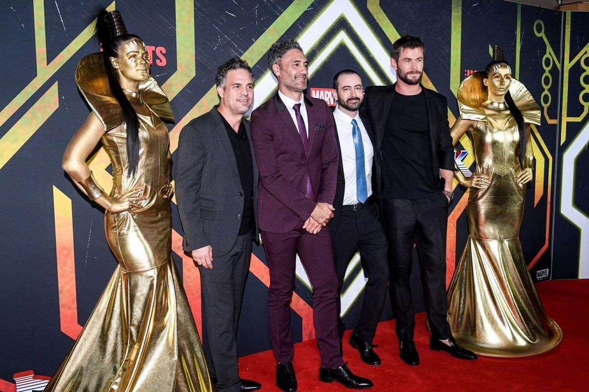 Actor Mark Ruffalo, film director Taika Waititi, movie producer Brad Winderbaum and actor Chris Hemsworth arrive on the red carpet for the special screening of the film Thor: Ragnarok based on the Marvel Comics character Thor, in Sydney, Australia on