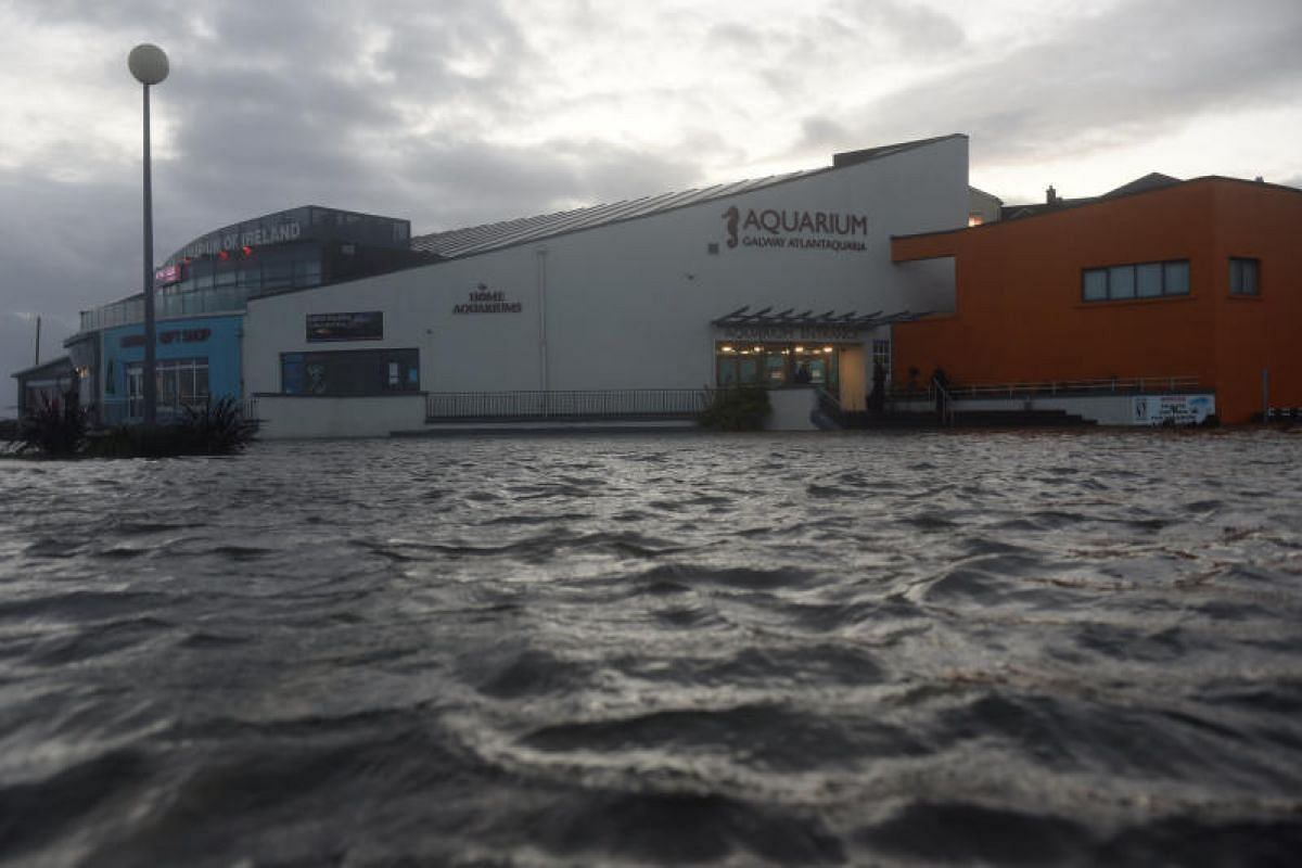 The Galway Atlantaquaria National Aquarium of Ireland building is submerged in floodwater during Storm Ophelia in Galway, Ireland on Oct 16, 2017.