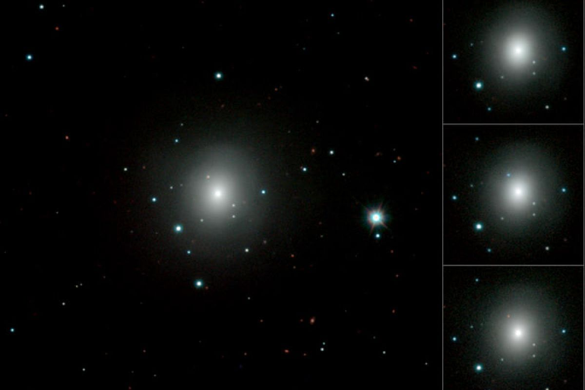 This handout image obtained from the European Southern Observatory (ESO) on Oct 16, 2017 is a mosaic showing how the explosion in a galaxy known as NGC 4993 brightened, becoming much redder before fading in the weeks after it exploded on Aug 17, 2017