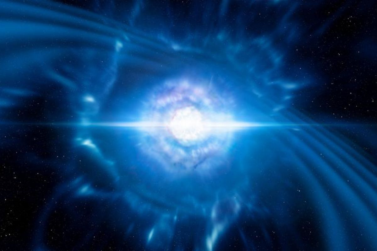 This handout image obtained from the European Southern Observatory on Oct 16, 2017 is an artist's impression showing two tiny but very dense neutron stars at the point at which they merge and explode as a kilonova.