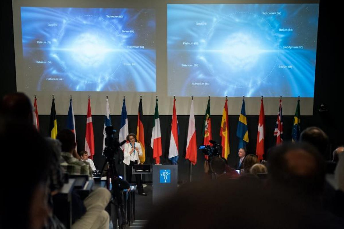 A view during a press conference of the European Southern Observatory (ESO) in Garching, Germany, Oct 16, 2017. ESO's fleet of telescopes in Chile detected the first visible counterpart to a gravitational wave source. These historic observations sugg