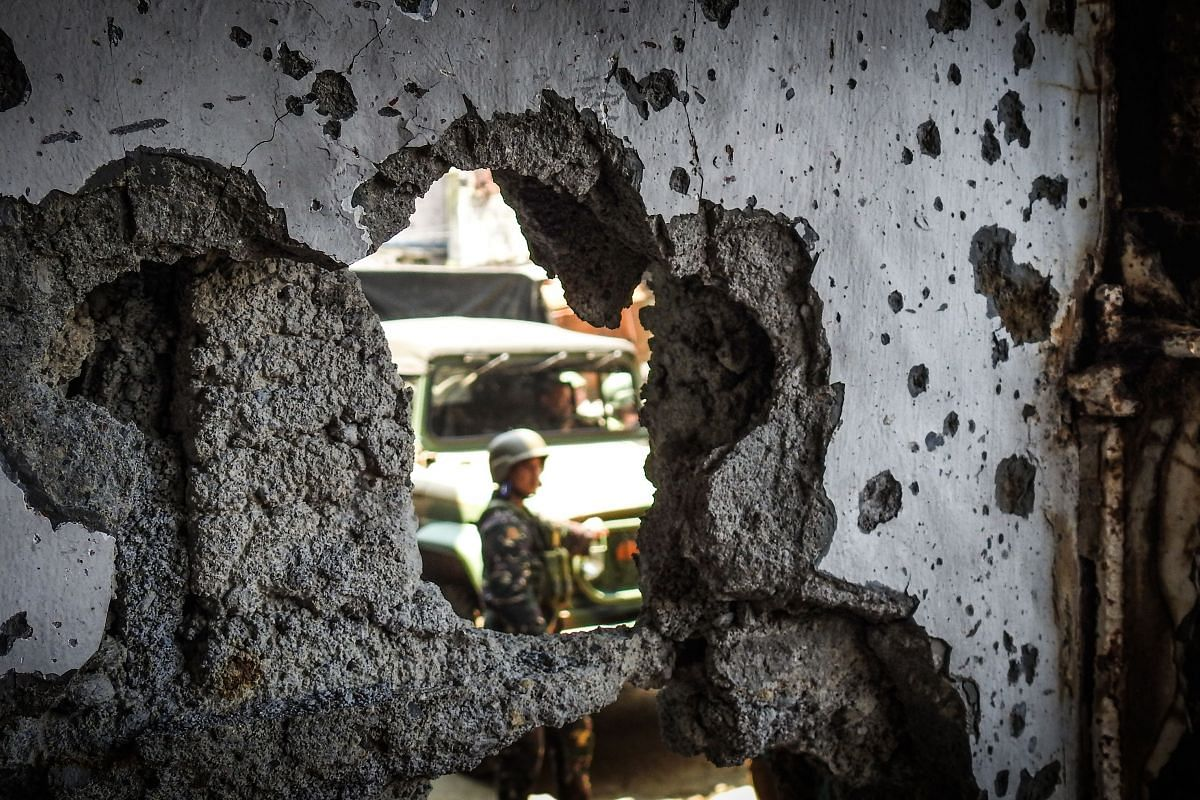 Damaged building in the Mapandi area on Aug 30, 2017. The occupation by ISIS loyalists marked the Philippines' biggest internal security crisis in years.