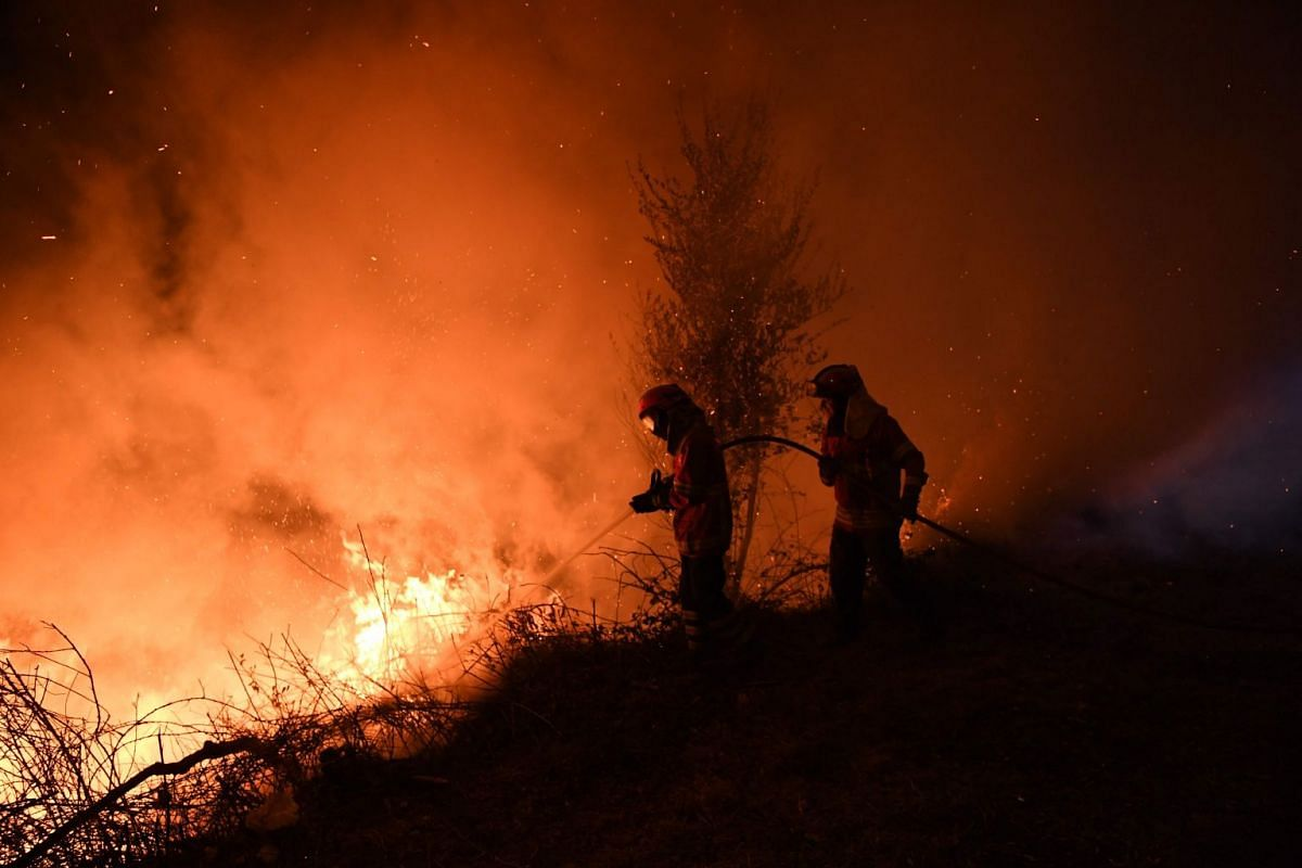 Firefighters try to extinguish a fire in Cabanoes near Louzan as wildfires continue to rage in Portugal on October 16, 2017. At least 27 people have died in fires which have ravaged forests in the north and centre of the country over the past 24 hour