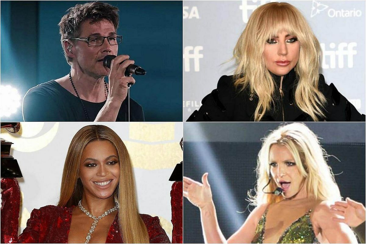 Clockwise from top left: Morten Harket of A-ha, Lady Gaga, Britney Spears and Beyonce.