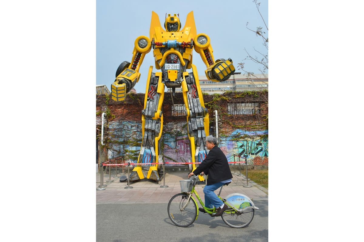 Giant installations, such as this toy robot, dot the city.