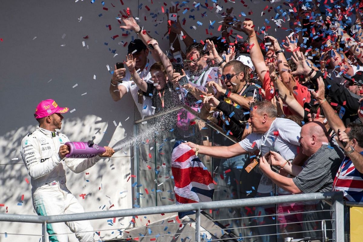 Mercedes driver Lewis Hamilton (44) of Great Britain celebrates winning the United States Grand Prix at Circuit of the Americas, Oct 22, 2017 in Austin,  Texas, USA. PHOTO: USA TODAY SPORTS