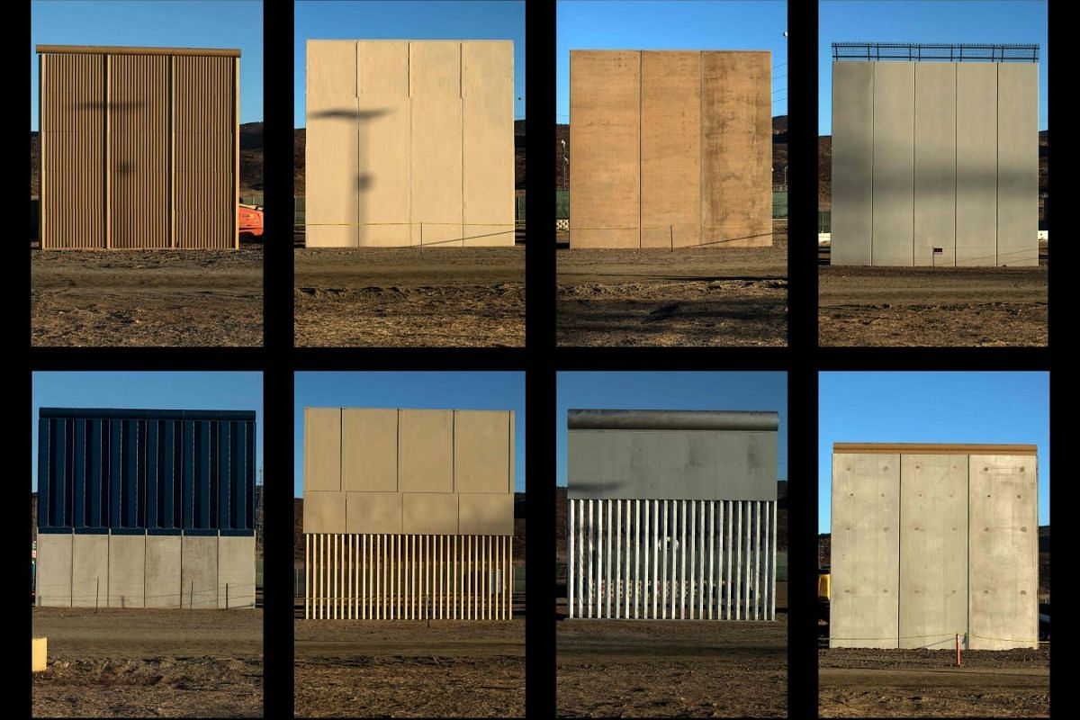 This combination of pictures shows the eight prototypes of US President Donald Trump's US-Mexico border wall being built near San Diego, in the US, seen from across the border from Tijuana, Mexico, on October 22, 2017. PHOTO: AFP