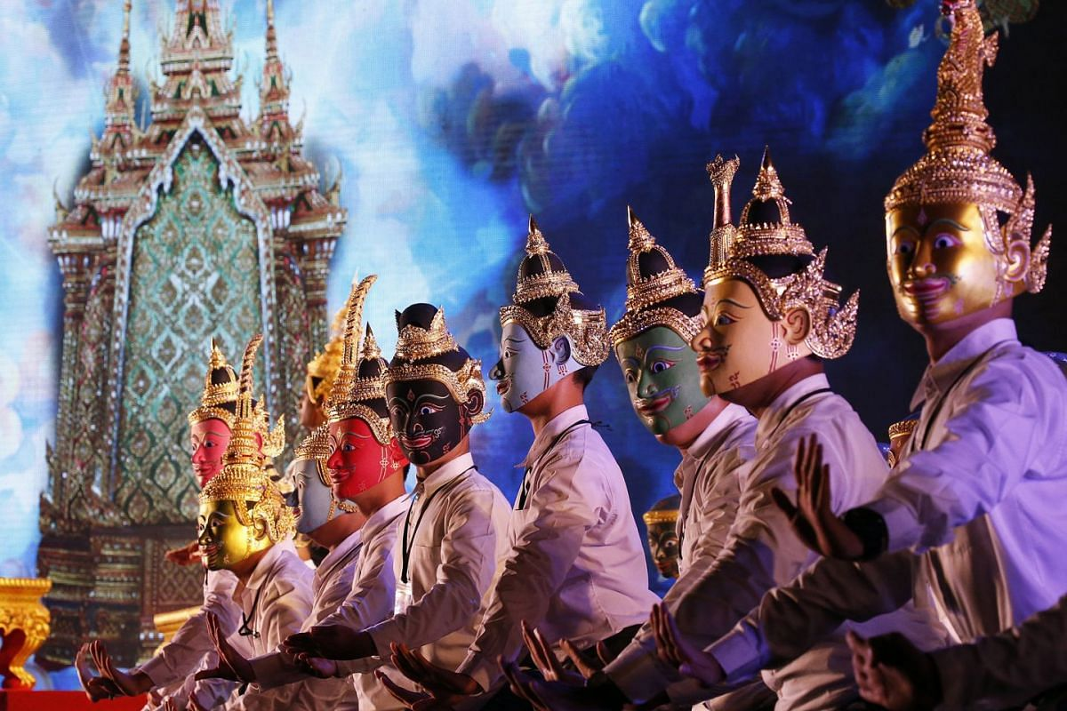 Thai artists perform the Khon dance, the traditional Thai masked performance drama based on the Hindu epic Ramayana or Ramakien in Thai, for their final farewell to the late Thai King Bhumibol Adulyadej's cremation ceremony, in the area of Royal Crem