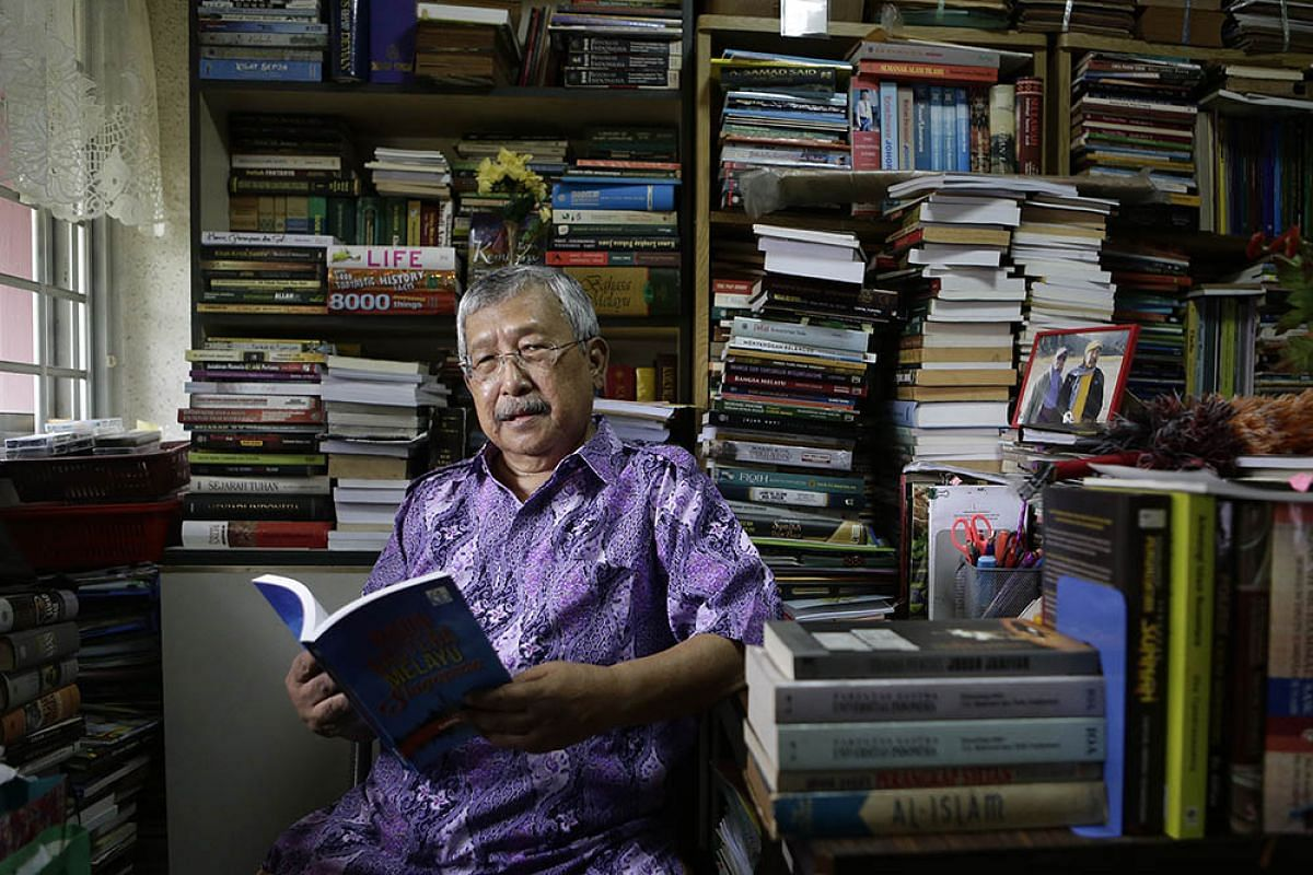 Writer Djamal Tukimin, pictured here in his home on Oct 12, 2017, was one of two arts pioneers who received the Cultural Medallion, Singapore's highest honour in the arts, from President Halimah Yacob last night (Oct 24) at the Istana. The other reci
