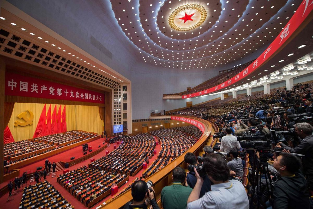 A general view shows delegates attending the closing of the 19th Communist Party Congress at the Great Hall of the People in Beijing, on Oct 24, 2017. PHOTO: AFP