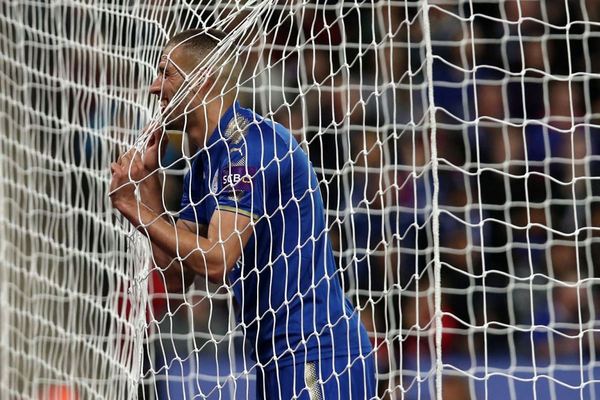Leicester City's Algerian striker Islam Slimani reacts after missing a good chance during the English League Cup fourth round football match between Leicester City and Leeds United at King Power Stadium in Leicester, central England, on Oct 24, 2017.