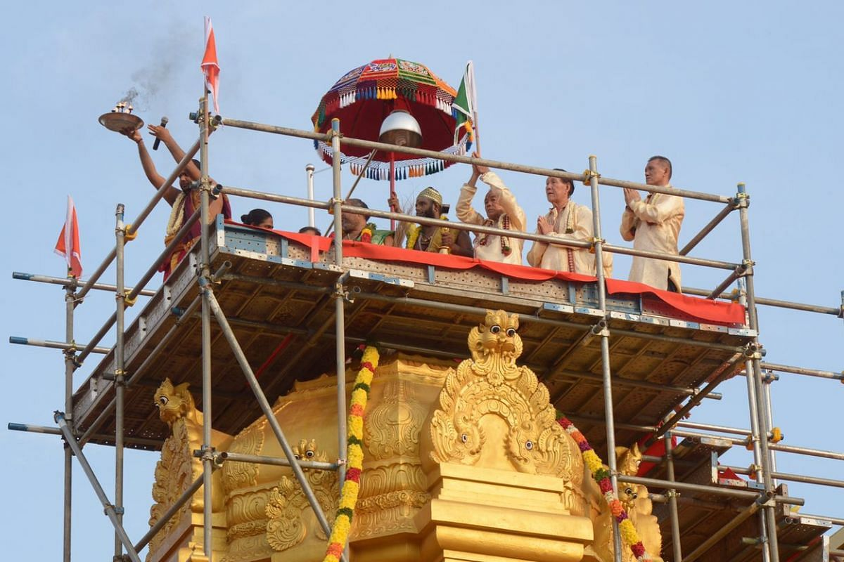 The shrine being blessed. The sanctum, which had undergone refurbishment works from April to September, has been repainted and waterproofed.