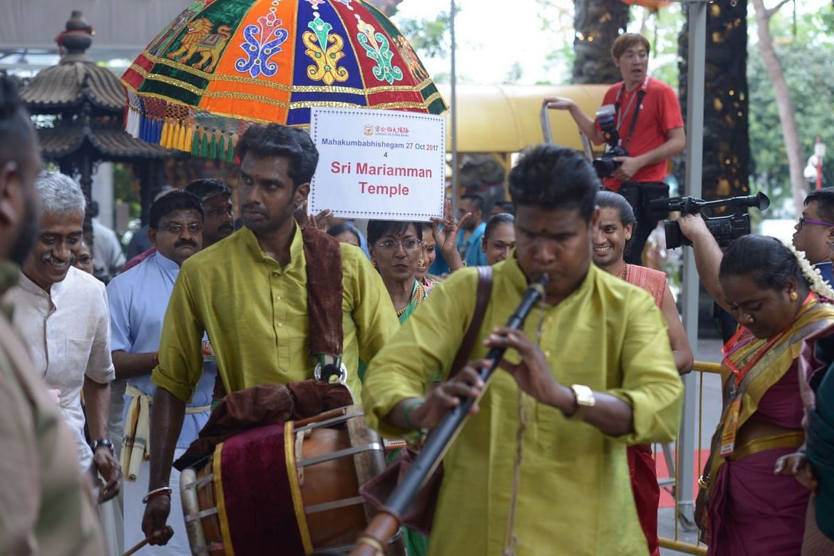 Temple musicians at the consecration ceremony.