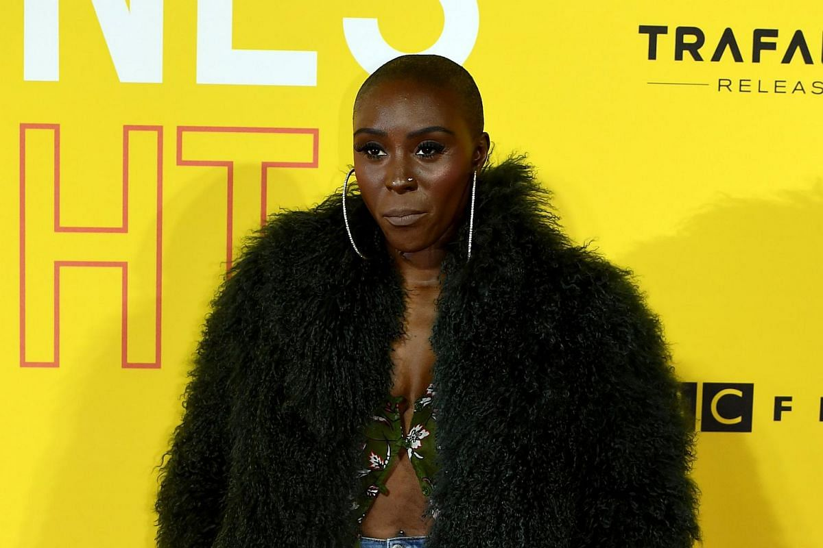 British singer Laura Mvula arrives at the premiere.
