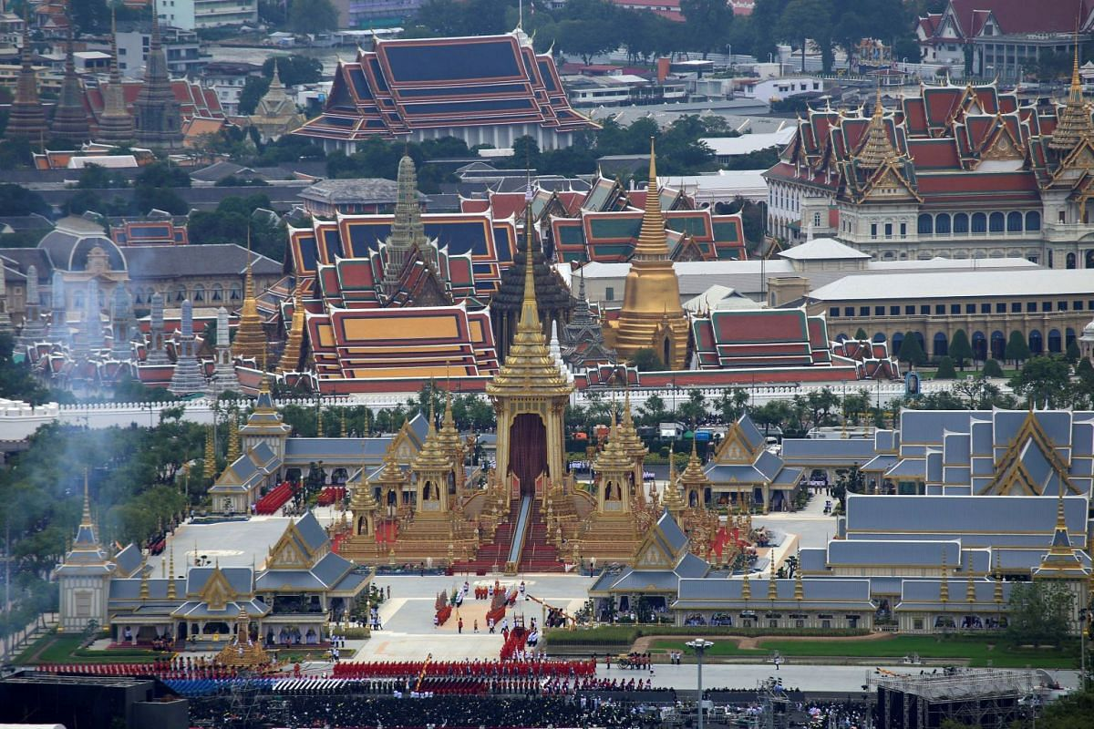 A view of the crematorium tower and the funeral procession for Thailand's late King Bhumibol Adulyadej in front of the Grand Palace in Bangkok, Thailand, on Oct 26, 2017.