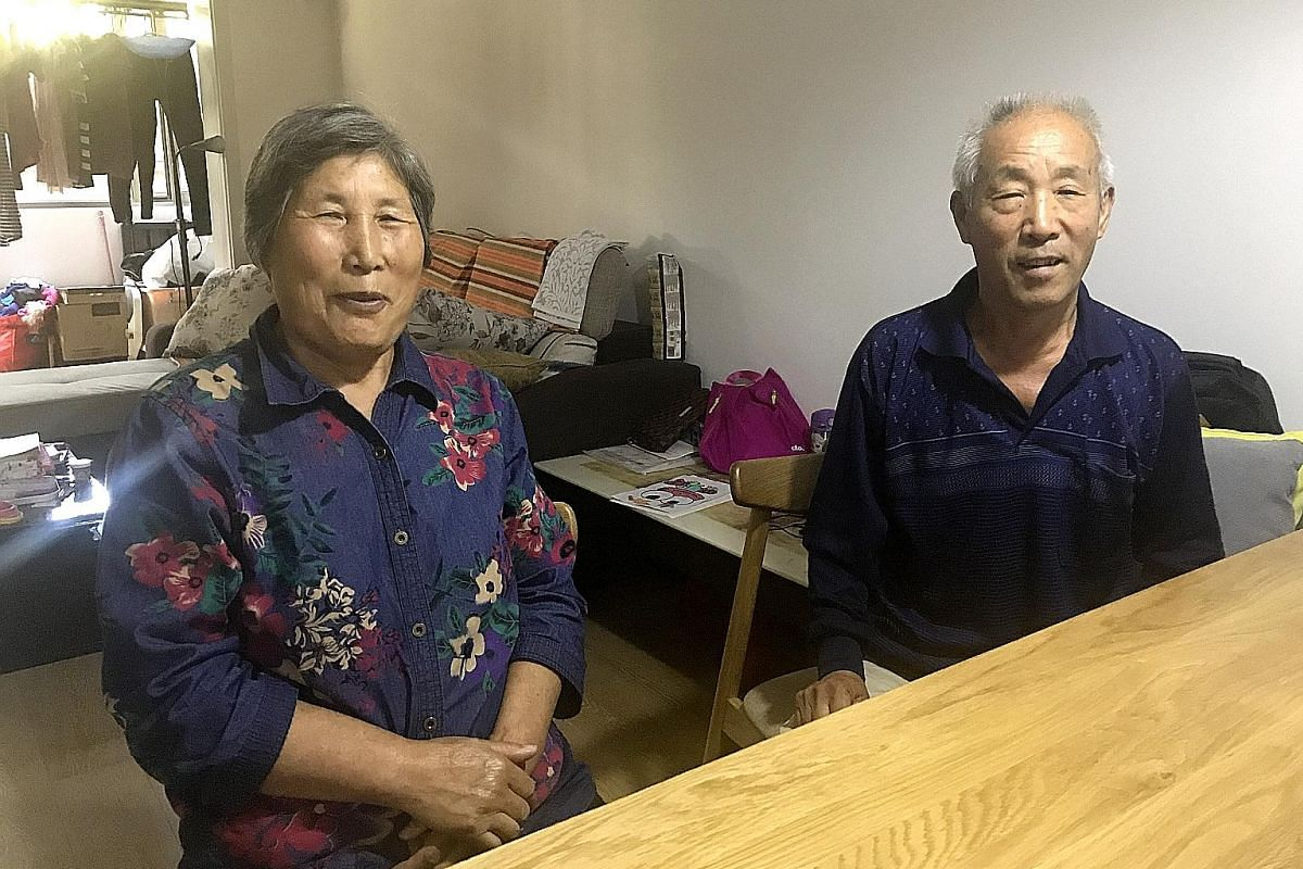 Left: Longwangtou villager Yang Ruizhen, 80, and her husband live on their own as their children have left the village to find work.Above: Farmer Zhang Fumin and his wife Liu Xiuying recently moved to Beijing from the suburbs to help take care of the