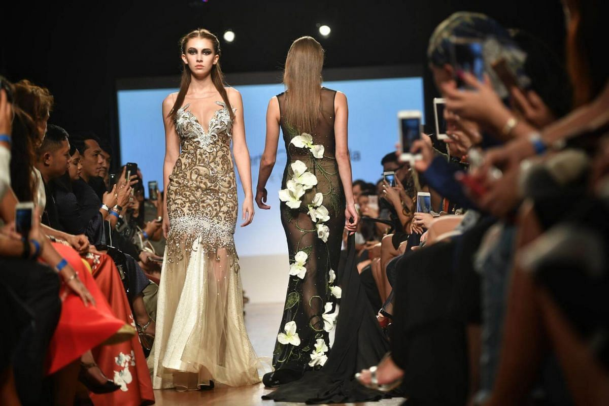 Albert Andrada's collection being presented during the Asia Fashion Designers Showcase on the second day of Singapore Fashion Week 2017.
