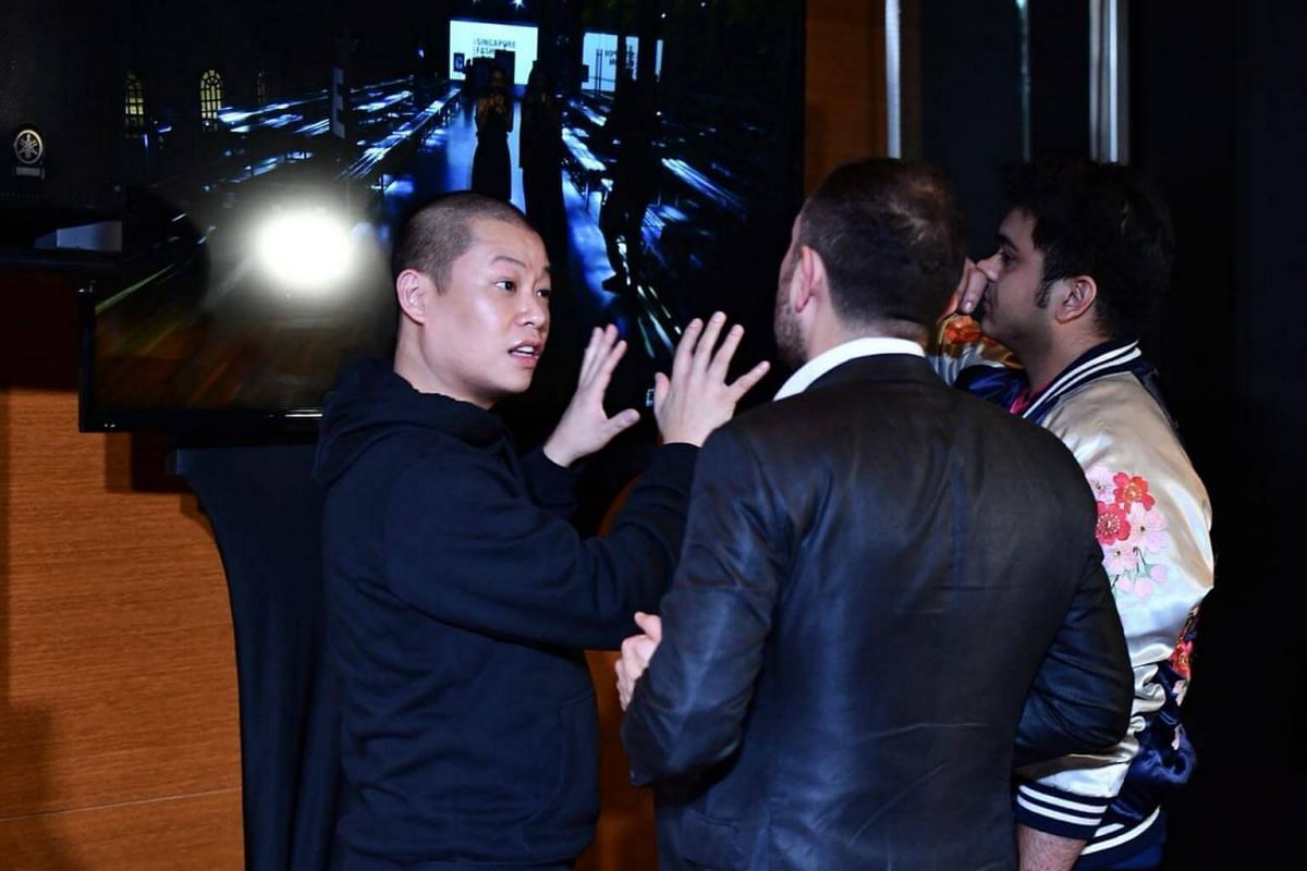 Jason Wu backstage before the start of the Presentation of the Spring 2018 Collection by Jason Wu, at National Gallery Singapore on Oct 28, 2017.