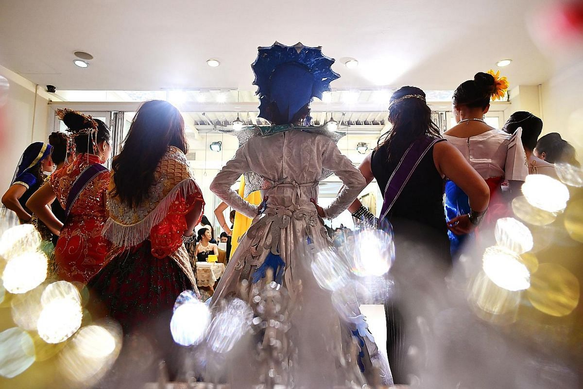 Contestants all dressed up for a maid pageant held last Sunday. The number of these pageants has risen in recent years and The Sunday Times found that there is a contest almost every week. Maids here sometimes take part in the contests without their