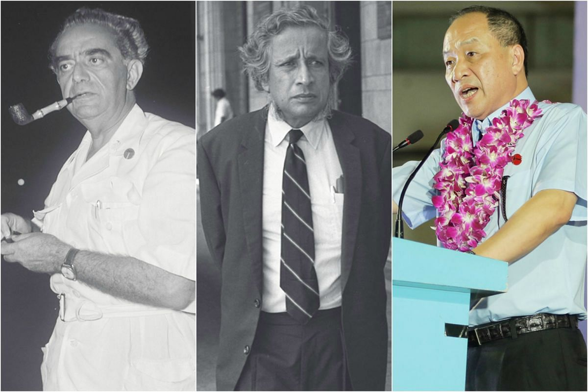 From left: Workers' Party founder David Marshall, J.B. Jeyaratnam and current chief Low Thia Khiang.