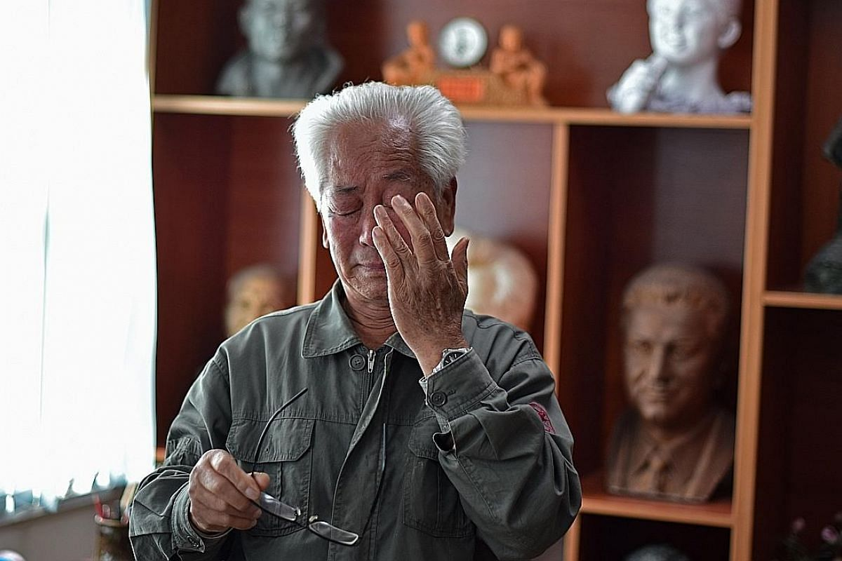 "The ancestral home of Kim Il Sung has been preserved to inculcate ""revolutionary thinking"" among the young. Children are often taken there on a pilgrimage. Master sculptor Ro Ik Hwan weeps while narrating a story involving Kim Il Sung, who is regarde"