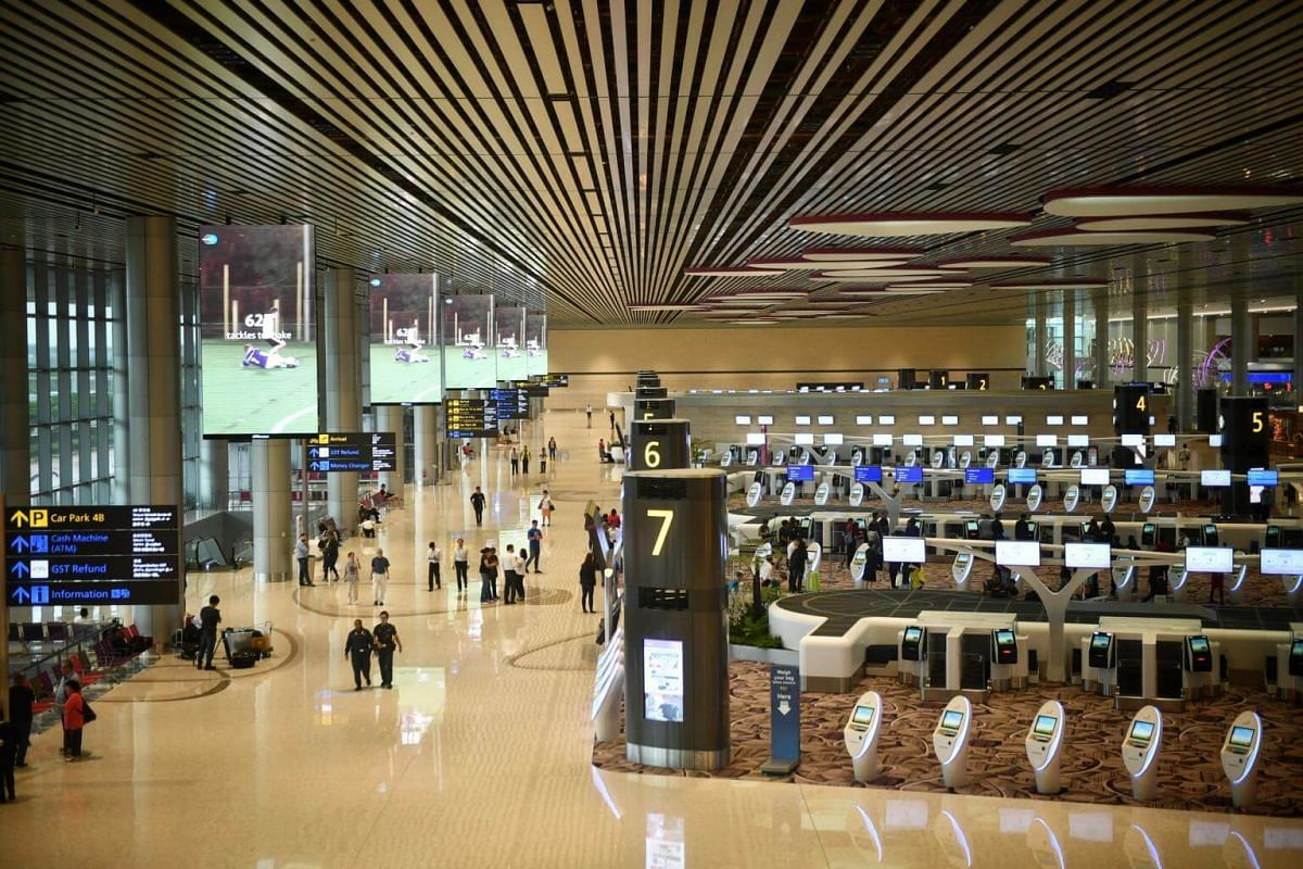 The Changi Airport Terminal 4 departure hall.