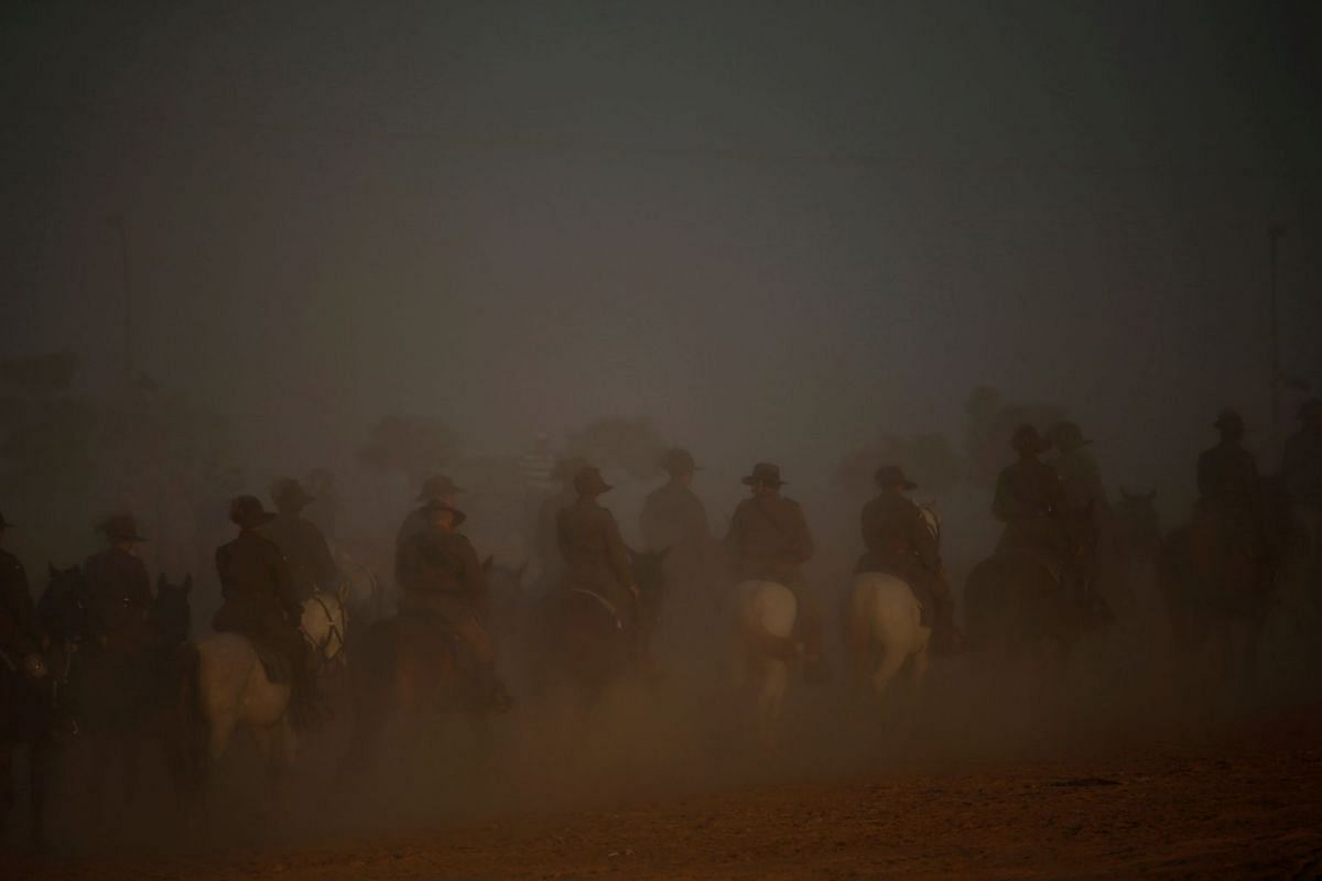 """Members of the Australian Light Horse Association take part in a re-enactment of the famous World War One cavalry charge known as the """"Battle of Beersheba"""", as part of events marking it's centenary, in Beersheba, Israel October 31, 2017. PHOTO: REUTE"""