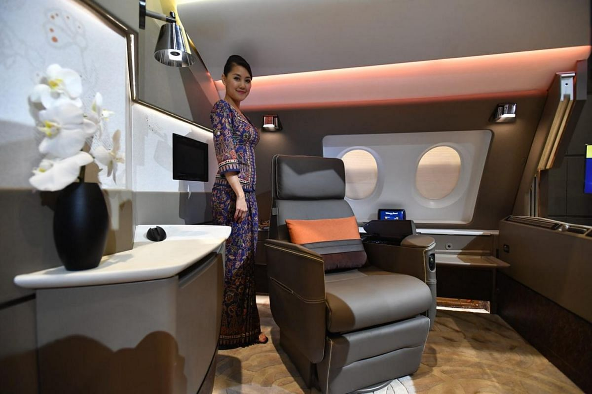 Suites on the Airbus 380 feature a 53cm swivel chair that can recline up to 135 degrees.