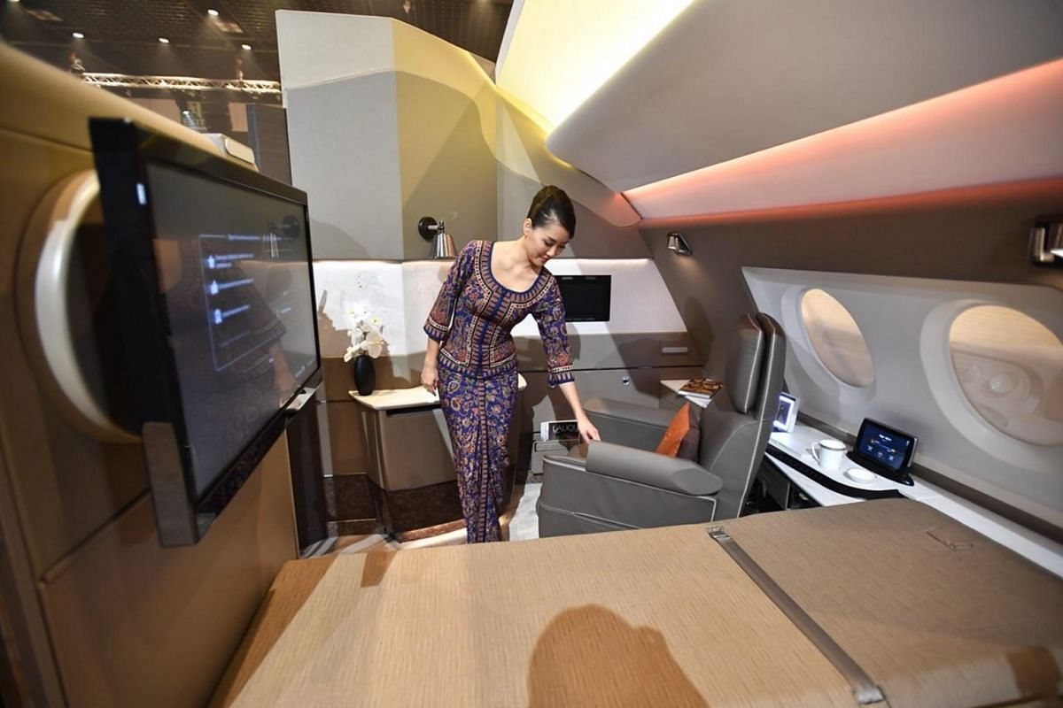 The suites on the new A-380s are designed to feel like a bedroom, with passengers having the option of both a bed and a seat.