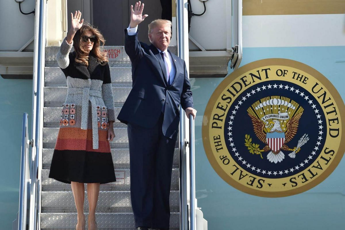 US President Donald Trump and First Lady Melania Trump arrive on Air Force One at US Air Force Yokota base in Fussa, Tokyo, on Nov 5, 2017.