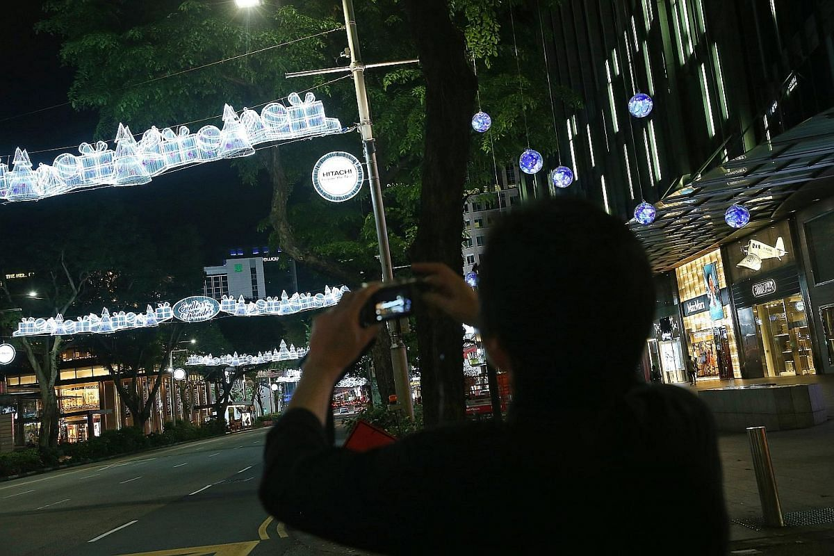 A worker arranging a globe on a tree outside the main gate of the Istana. Each globe contains various coloured fabrics intertwined with LED fairy lights. A total of 1,200 globes and 28.8km of LED lights were used to adorn the trees along Orchard Road