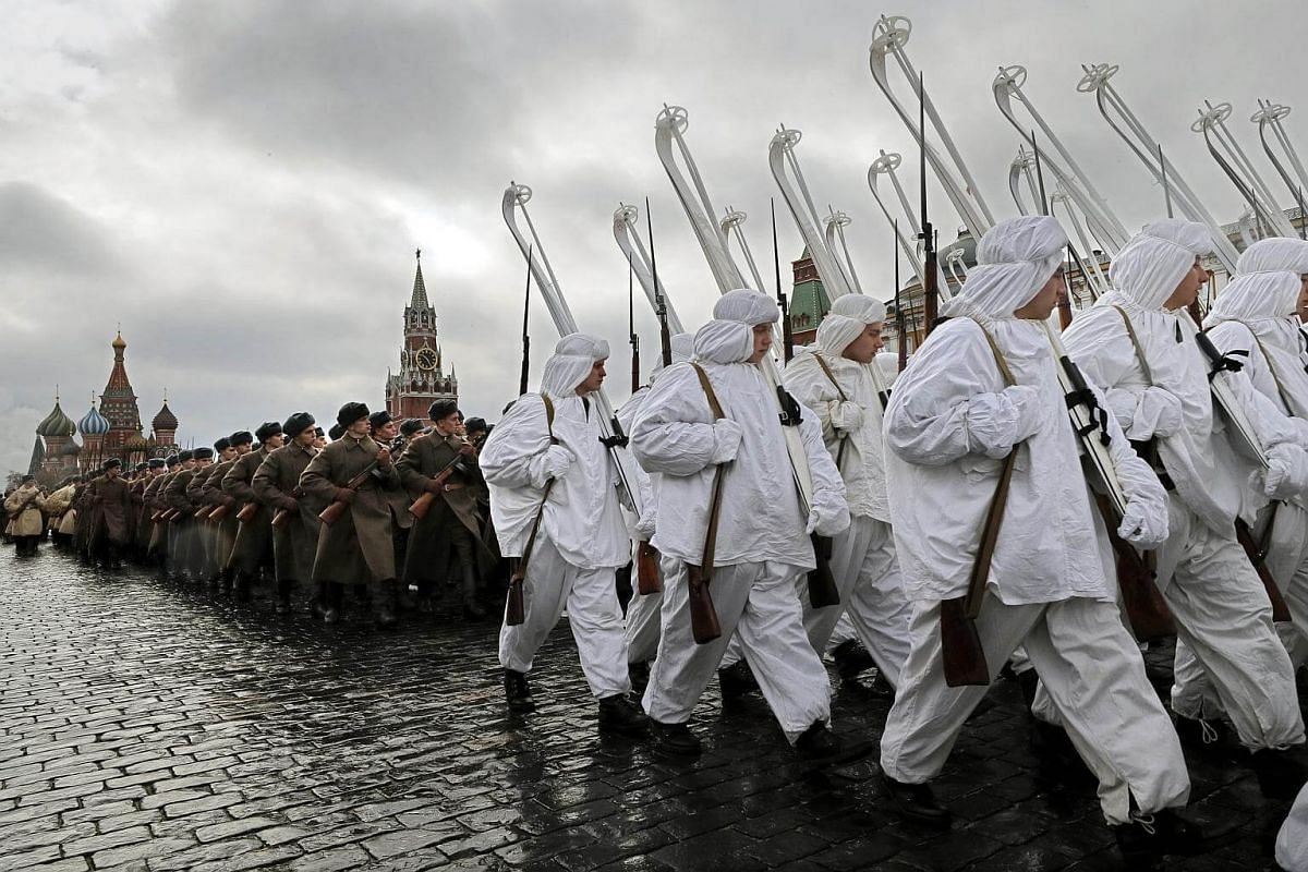Russian soldiers in historical uniforms take part in the military parade rehearsal on the Red Square in Moscow.