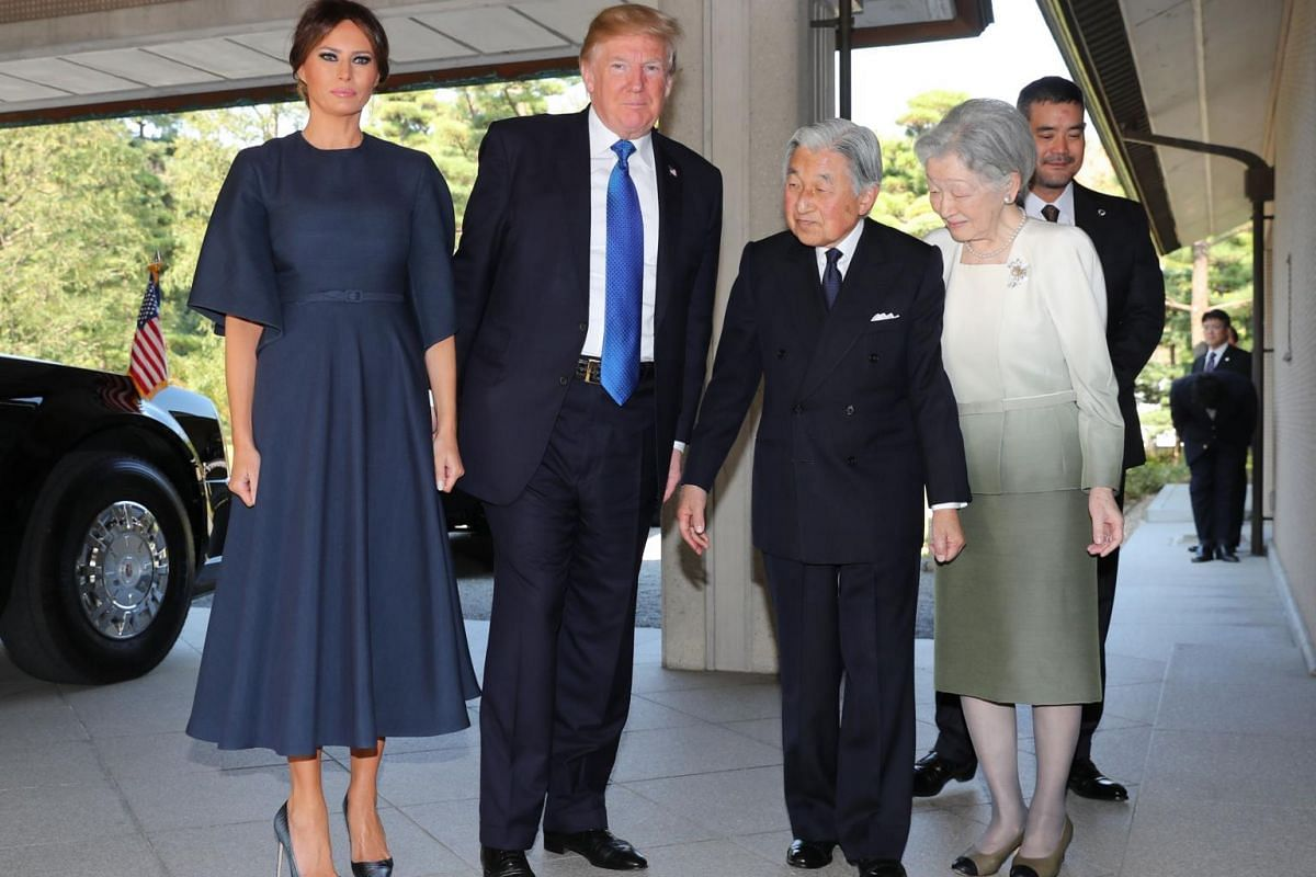 (From left) US First Lady Melania, US President Donald Trump, Emperor Akihito and Empress Michiko at the Imperial Palace in Tokyo on Nov 6, 2017.