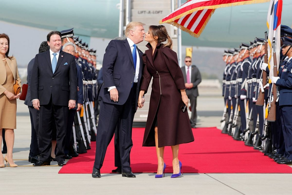 US President Donald Trump and first lady Melania arrive in Seoul on Nov 7, 2017.